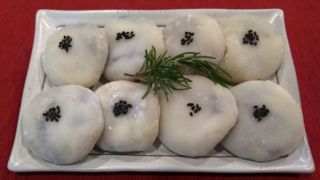 Korean mochi rice cake filled with sweet red bean paste