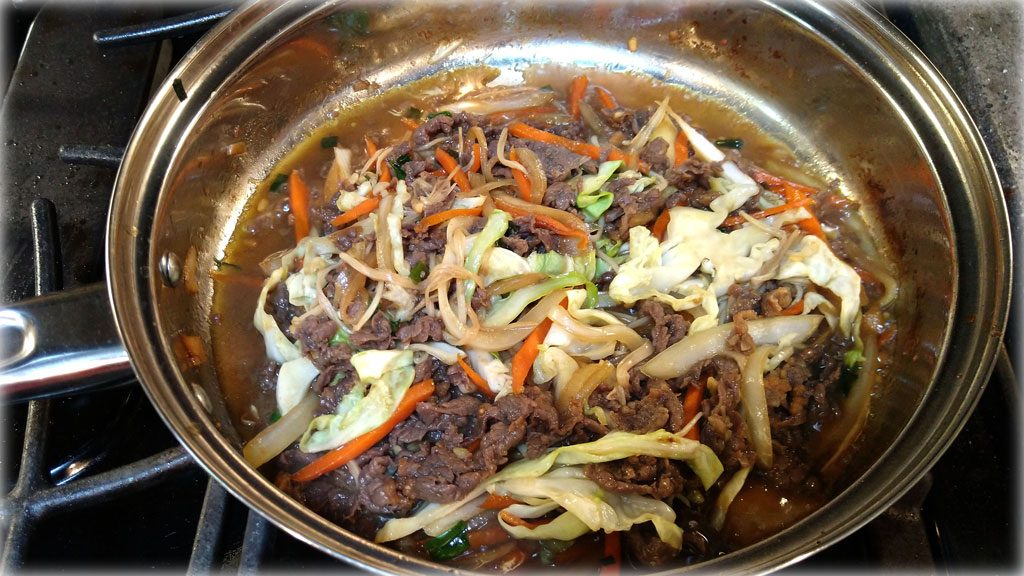 Bulgogi-Korean Marinated Beef (불고기) - Cooking on skillet